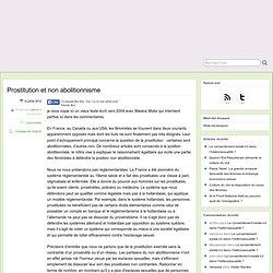 Prostitution et non abolitionnisme