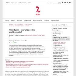 Prostitution : pour une position abolitionniste