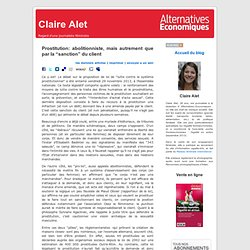 "Claire Alet » Blog Archive » Prostitution: abolitionniste, mais autrement que par la ""sanction"" du client"