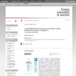 «La prostitution des mineur(e)s au xxe siècle», Revue d'histoire de l'enfance «irrégulière»