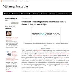 Mélange Instable: Prostitution : Deux ans plus tard, Madmoizelle garde le silence, et donc persiste et signe