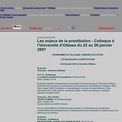 Les enjeux de la prostitution - Colloque à l'Université d'Ottawa du 22 au 26 janvier 2007