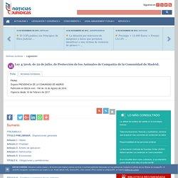 Ley 4/2016, de 22 de julio, de Protección de los Animales de Compañía de la Comunidad de Madrid.