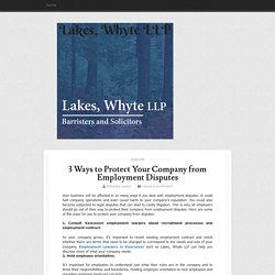 3 Ways to Protect Your Company from Employment Disputes ~ Lakes, Whyte LLP