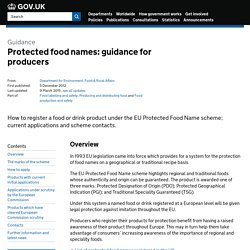 DEFRA 22/10/13 Protected food names: guidance for producers