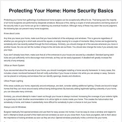 Protecting Your Home: Home Security Basics