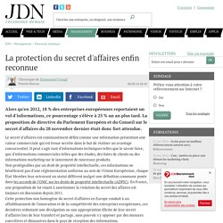 La protection du secret d'affaires enfin reconnue