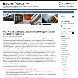 Data Protection Officials Adopt Internet of Things Declaration and Big Data Resolution