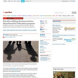 Privatise child protection services, Department for Education proposes