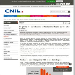 Vie privée des enfants : une protection insuffisante sur les sites Internet - CNIL - Commission nationale de l'informatique et des libertés