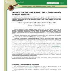 LA PROTECTION DES SITES INTERNET PAR LE DROIT D'AUTEUR REMISE EN QUESTION ?