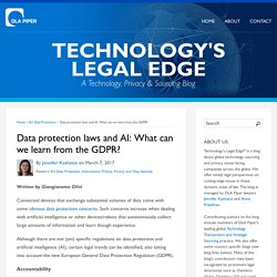 Data protection laws and AI: What can we learn from the GDPR?