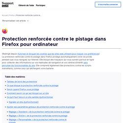 Protection renforcée contre le pistage dans Firefox pour ordinateur