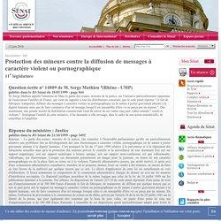 Protection des mineurs contre la diffusion de messages à caractère violent ou pornographique - Sénat