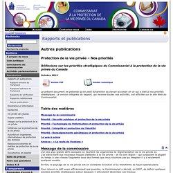 Protection de la vie privée – Nos priorités - Octobre 2013