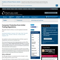Consumer Protection from Unfair Trading Regulations