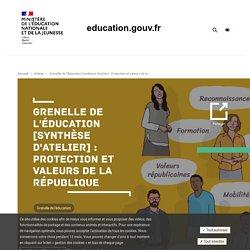 Grenelle de l'Éducation [synthèse d'atelier] : Protection et valeurs de la République