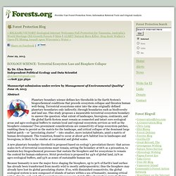 Forest Protection Blog: ECOLOGY SCIENCE: Terrestrial Ecosystem Loss and Biosphere Collapse