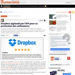 Dropbox applaudi par l'EFF pour sa protection des utilisateurs
