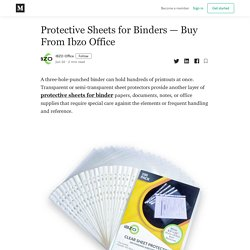 Protective Sheets for Binders — Buy From Ibzo Office