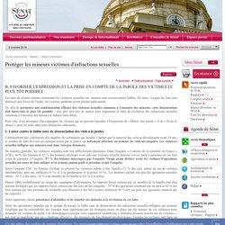 [Rapport du Sénat] Protéger les mineurs victimes d'infractions sexuelles