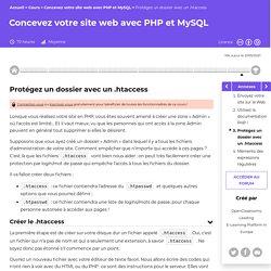 Protégez un dossier avec un .htaccess - Concevez votre site web avec PHP et MySQL