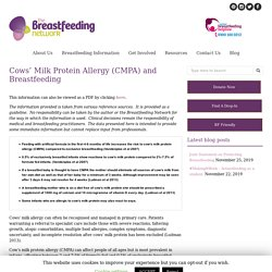 Cows' Milk Protein Allergy (CMPA) and Breastfeeding - The Breastfeeding Network