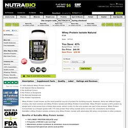 Whey Protein Isolate Natural - 2 Lb - NutraBio.com