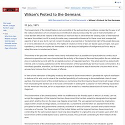 Wilson's Protest to the Germans