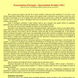Protestantismo Português - Oportunidade Perdida