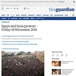 Egypt and Syria protests - Friday 18 November 2011