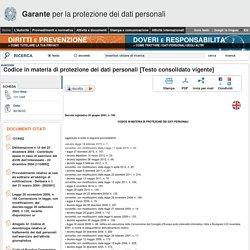 Dlsgs 196/2003: Codice in materia di protezione dei dati personali
