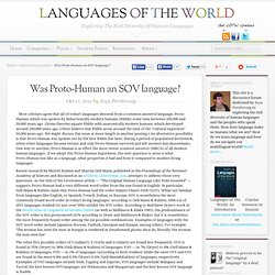 Was Proto-Human an SOV language?