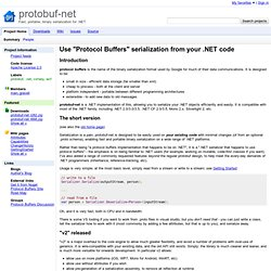 protobuf-net - Fast, portable, binary serialization for .NET