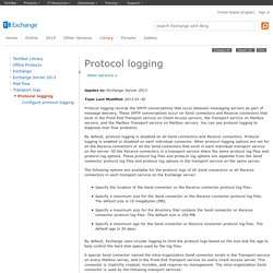 Protocol logging: Exchange 2013 Help