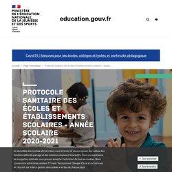 Protocole sanitaire des écoles et établissements scolaires - Année scolaire 2020-2021