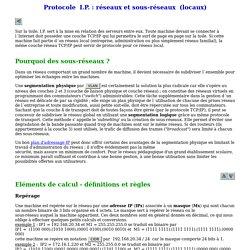Protocole I.P. ; calculs de sous-réseaux