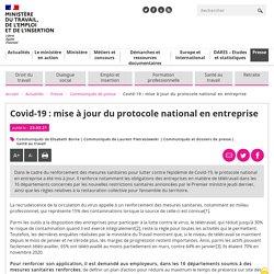 Covid-19 : mise à jour du protocole national en entreprise / Ministère du travail, mars 2021