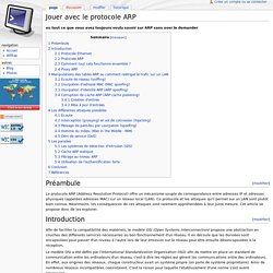 Jouer avec le protocole ARP - Page Personnelle de Cédric Blancher