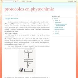 protocoles en phytochimie: Dosage des tanins
