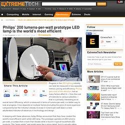 Philips' 200 lumens-per-watt prototype LED lamp is the world's most efficient