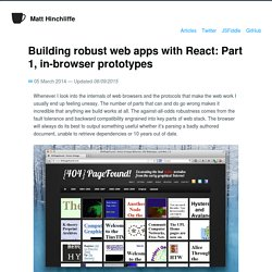Building robust web apps with React: Part 1, in-browser prototypes