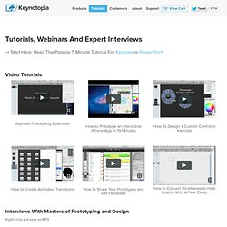Watch video tutorials and download free samples on prototyping with Keynote and PowerPoint