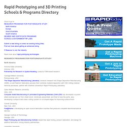 Rapid Prototyping and 3D Printing Schools & Programs Directory
