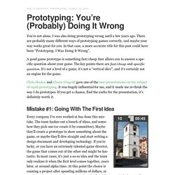Games from Within | Prototyping: You're (Probably) Doing It Wrong