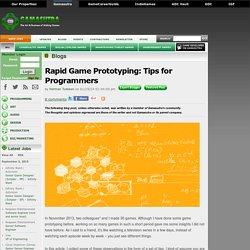 Herman Tulleken's Blog - Rapid Game Prototyping: Tips for Programmers