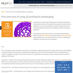Pros and cons of using 3D printing for prototyping - HLH Prototypes Co Ltd