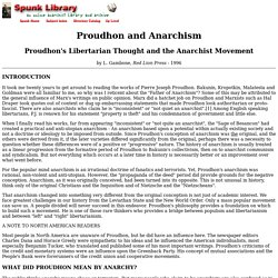 Proudhon's Libertarian Thought and the Anarchist Movement by L. Gambone