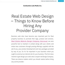 Real Estate Web Design – Things to Know Before Hiring Any ProviderCompany