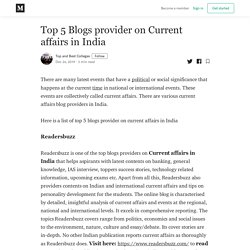 Top 5 Blogs provider on Current affairs in India - Top and Best Colleges - Medium